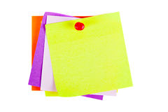 Yellow Post it Note with Red Push Pin. The yellow sheet for notes pierced the red pushpin closeup on white background Royalty Free Stock Image