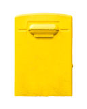 Yellow post office mailbox on plastered wall Stock Image