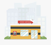Yellow post office service building with a city scape in the background in flat style. Modern building. ATM. Colored vector illustration. EPS 10 Royalty Free Stock Photography
