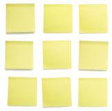 Yellow post-it papers set Royalty Free Stock Images