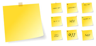 Yellow Post It Sticky Notes With Messages. Yellow Post It Sticky Notes With Different Messages Vector Illustration Stock Images