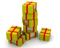 Yellow postal parcels Stock Photos