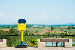 Yellow postbox. Royalty Free Stock Photography