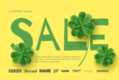 Yellow poster with clover banner and flyer design. Stock Images
