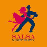 Yellow poster for salsa party. Couple dancing latin dance vector illustration Royalty Free Stock Photos