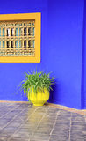 Yellow pot, blue wall Stock Images