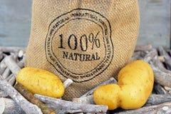 Yellow potatoes in a jute bag Stock Photos