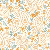 Yellow potpourri seed head seamless pattern vector illustration