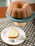 Yellow Pound Cake in a Bundt shape Royalty Free Stock Photo