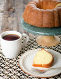 Yellow Pound Cake in a Bundt shape Royalty Free Stock Images