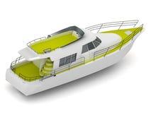 Yellow premium motorized pleasure boat Stock Photography
