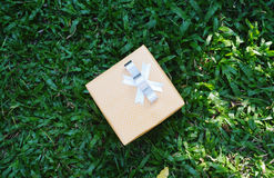 Yellow present box Stock Photos