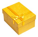Yellow present box isolated on a white Stock Photography