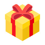 Yellow present box isometric icon. Single symbol on a white background vector illustration