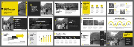 Yellow presentation templates elements on a white background. Vector infographics. Use in Presentation, flyer and leaflet, corporate report, marketing Stock Image