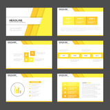 Yellow presentation templates Infographic elements flat design set for brochure flyer leaflet marketing Royalty Free Stock Photography