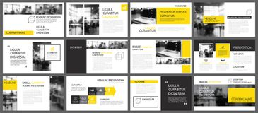 Yellow presentation templates and infographics elements background. Use for business annual report, flyer, corporate marketing, l stock illustration