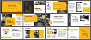 Yellow presentation templates and infographics elements background. Use for business annual report, flyer, corporate marketing, l vector illustration
