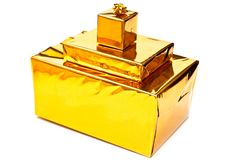 Yellow presents boxes Royalty Free Stock Photography