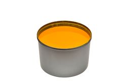 Yellow printing ink. royalty free stock image