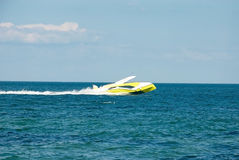 Yellow private pleasure boat Royalty Free Stock Image