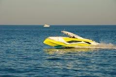 Yellow private pleasure boat on the Black Sea Stock Photos