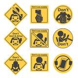 Yellow Prohibit Sign and Symbol Stock Photo