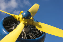 Yellow propeller of an airplane Royalty Free Stock Photo