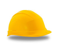 Yellow protective construction helmet Royalty Free Stock Images