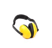 Yellow protective ear muffs. Stock Images