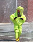 Yellow Protective Suit Against Chemical And Bacteriological Agen Royalty Free Stock Image