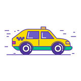 Yellow public taxi car icon design in trendy cartoon line style. Royalty Free Stock Photos
