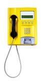 Yellow public telephone Stock Photo