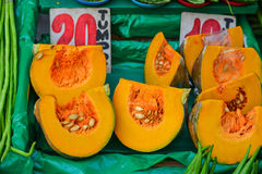 Yellow pumpkin at rural market in Philippines Stock Photo