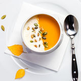 Yellow Pumpkin soup made for Thanksgiving. Studio shot for resta Royalty Free Stock Photo
