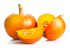Yellow pumpkin vegetable with cut Royalty Free Stock Photos