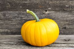 Yellow pumpkin on wooden background. Autumn. Harvest festival. flat lay autumn wallpaper. selective focus royalty free stock photography