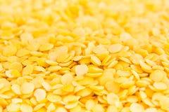 Yellow purified lentil macro background. Stock Image
