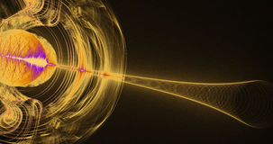 Yellow And Purple Abstract Lines Curves Particles Background Royalty Free Stock Photo