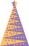 Yellow and purple Christmas tree Royalty Free Stock Images