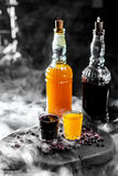 Yellow and Purple cocktails with berry Stock Photo