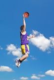 Yellow and purple dunk in the sky Stock Photos