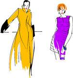Yellow Purple Fashion Girl. Two Yellow Purple Fashion Girl. Drawing Stock Images