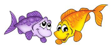 Yellow and purple fish. Color illustration of yellow and purple fish stock illustration