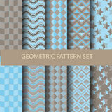 Yellow and purple geometric set 2. 10 blue and brown geometric patterns, vector, Endless texture can be used for wallpaper, pattern fills, web page,background Stock Image