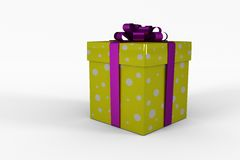 Yellow and purple gift box. On white background Stock Photography