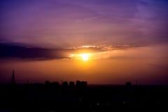 Yellow purple gradient  sunset sky Royalty Free Stock Photo