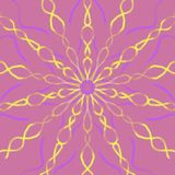 Yellow and purple hand drawn ornaments forming a beautiful flower on a pastel pink background, mandala style illustration royalty free illustration