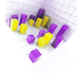 Yellow and purple metallic cubes Stock Images