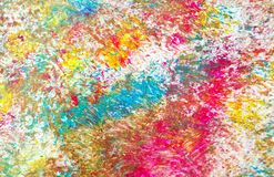 Colors, colorful bright pastel vivid spot paint background, watercolor acrylic painting abstract background. Yellow purple pink green phosphorescent blue yellow stock photo